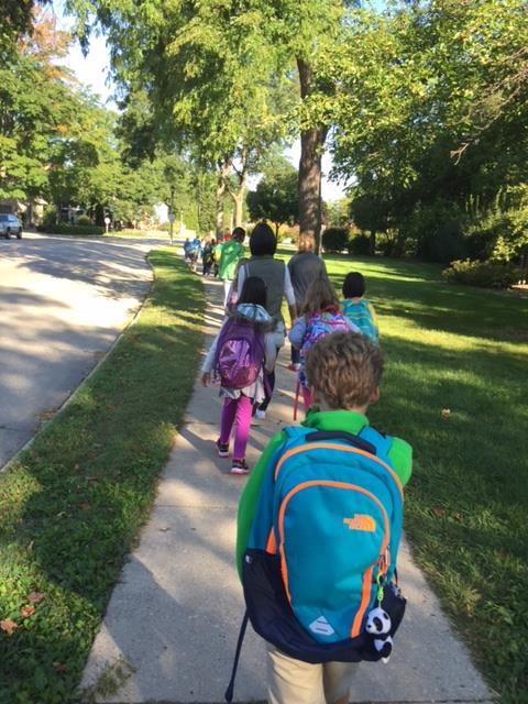 Safety-students walking on sidewalk